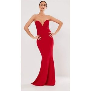 Missguided Red Plunge Mermaid Dress